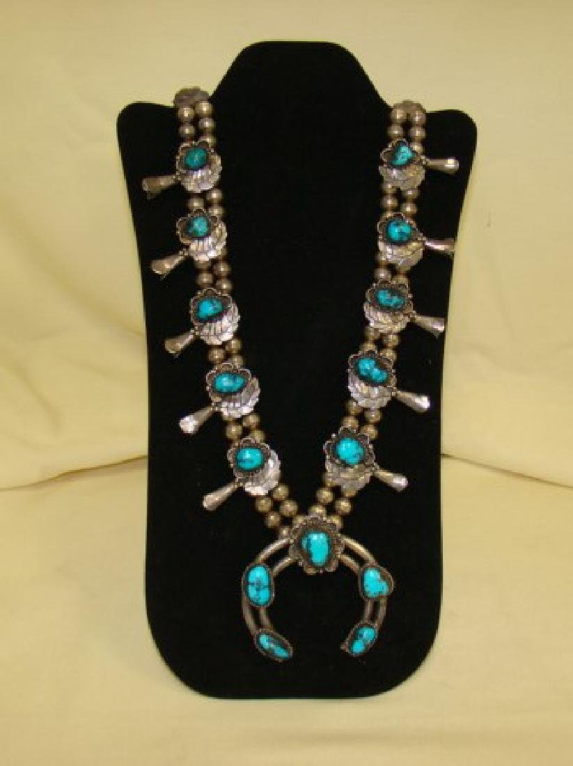 STERLING AND TURQUOISE SQUASH BLOSSOM NECKLACE