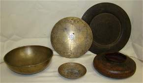 5 PIECES ETCHED BRASS AND METAL DECORATIVE ITEMS