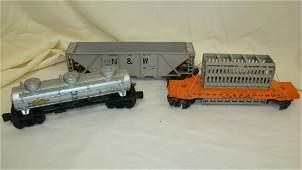 3 VINTAGE USED LIONEL TRAIN CARS