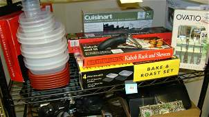 SHELF LOT KITCHEN ITEMS IN BOXES