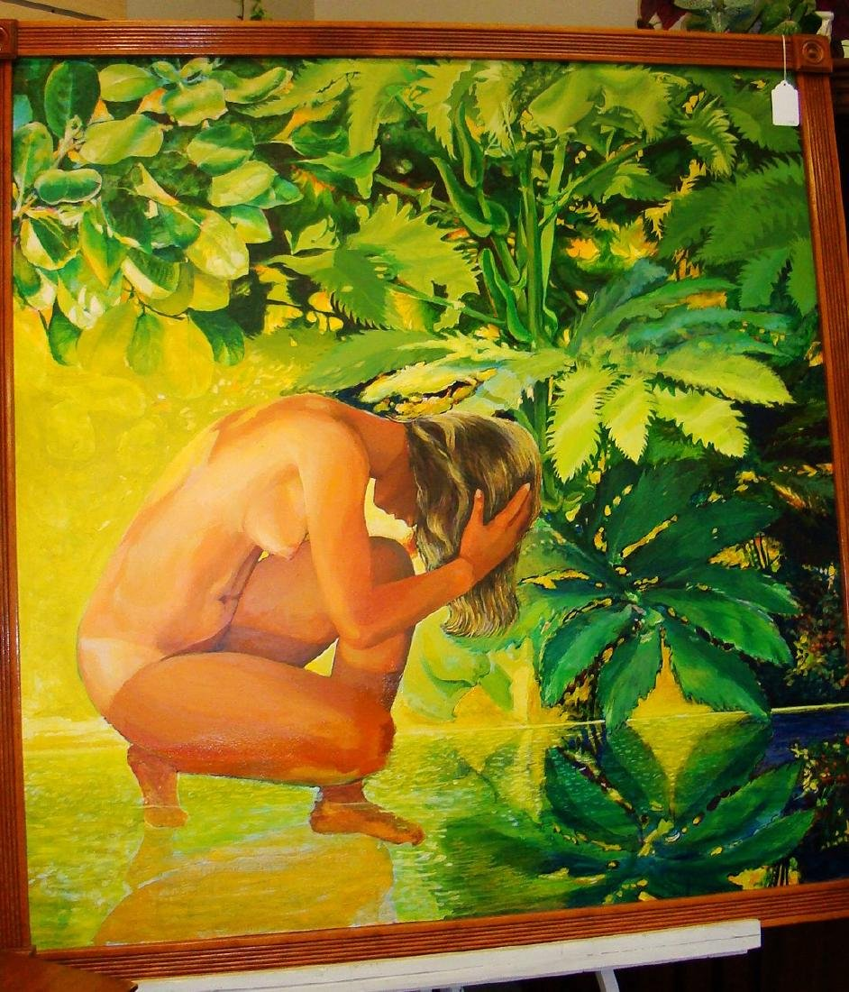LARGE FRAMED OIL ON CANVAS OF A NUDE WOMAN IN THE