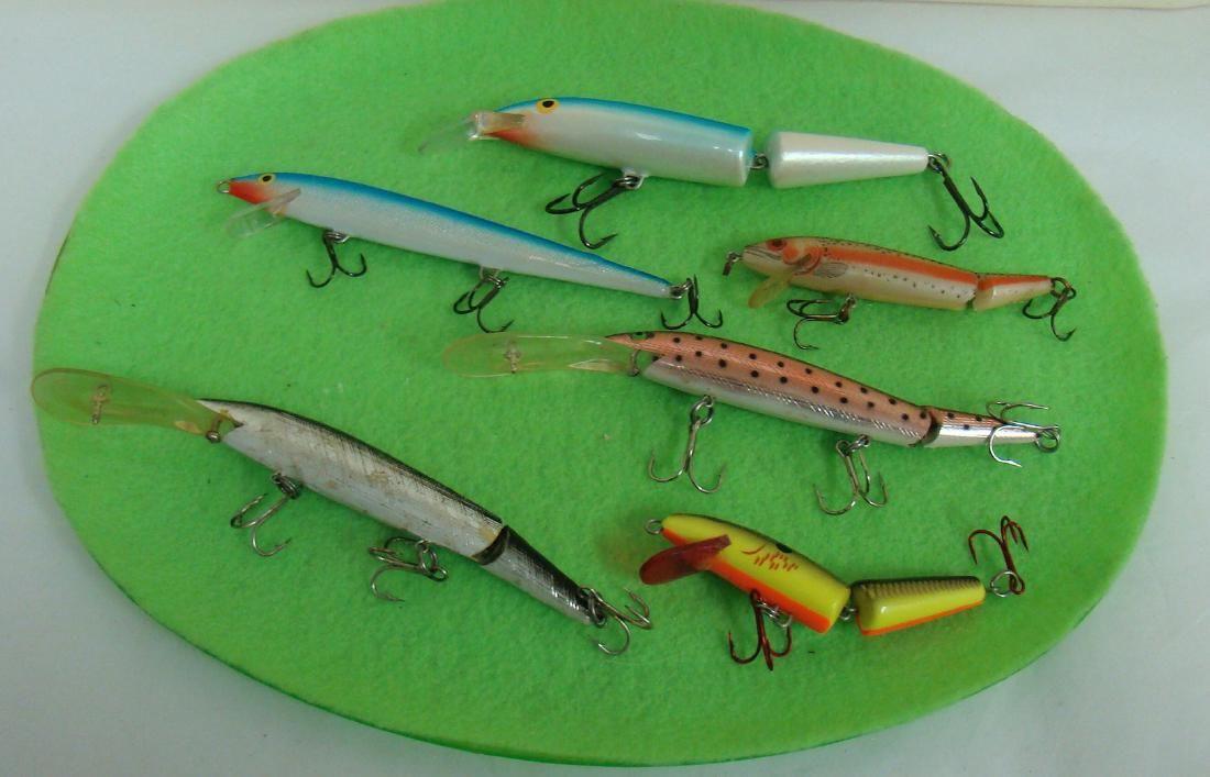 6 VARIOUS FISHING LURES - 1 RAPALA BX SWIMMER 12