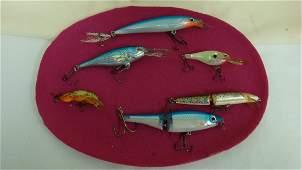 6 VARIOUS FISHING LURES  1 RAPALA BX SWIMMER 12