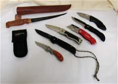 7 VARIOUS POCKET KNIVES AND FISH KNIFE