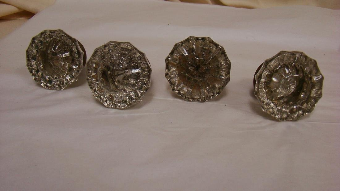 ANTIQUE GLASS AND BRASS DOOR KNOBS - 3