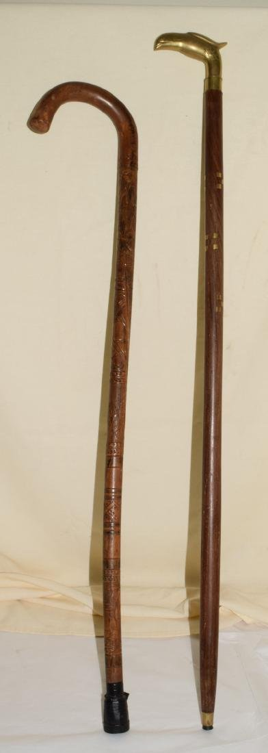 2 DECORATIVE WOODEN WALKING STICKS