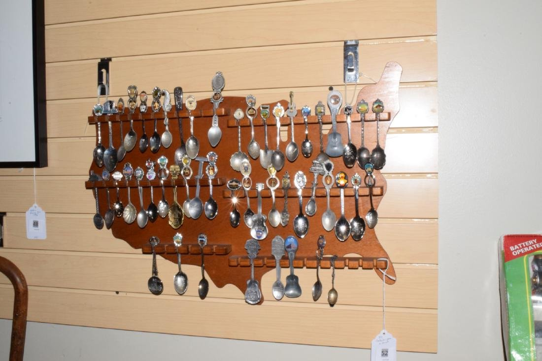 51 VARIOUS COLLECTOR SPOONS IN RACK - 2