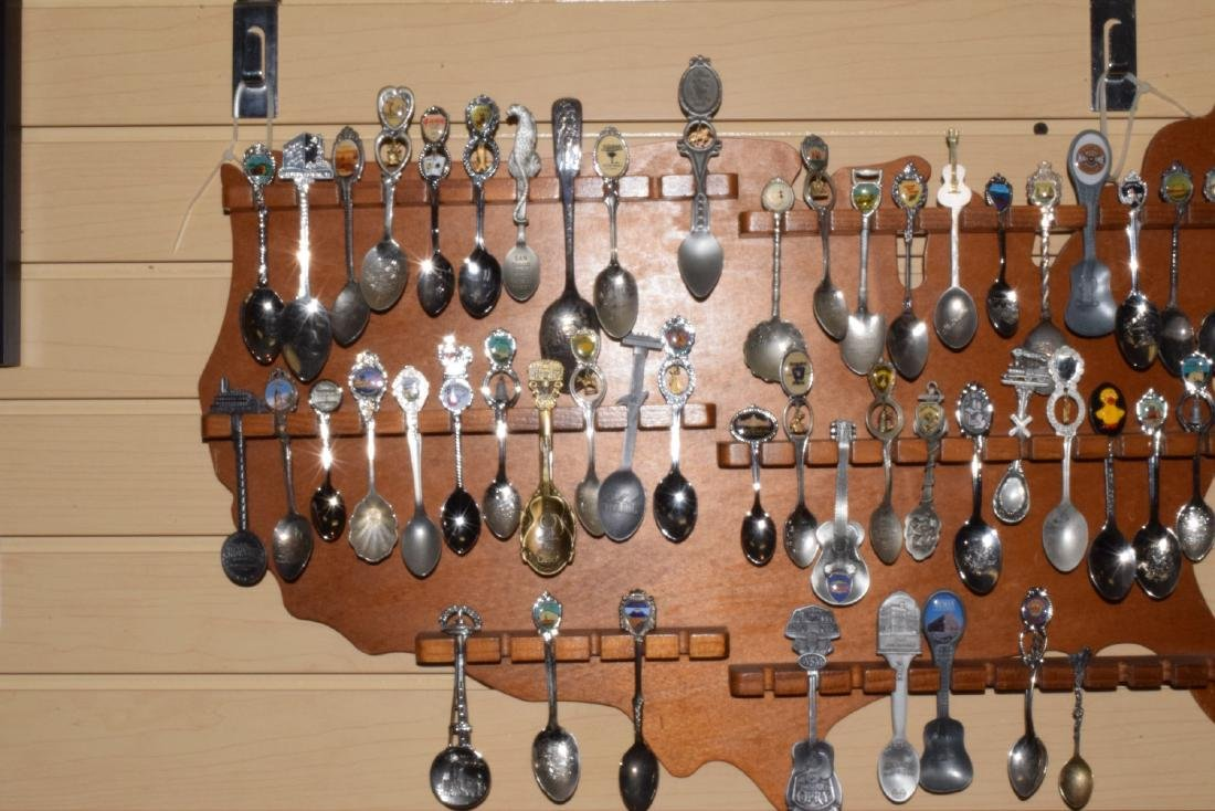 51 VARIOUS COLLECTOR SPOONS IN RACK - 4