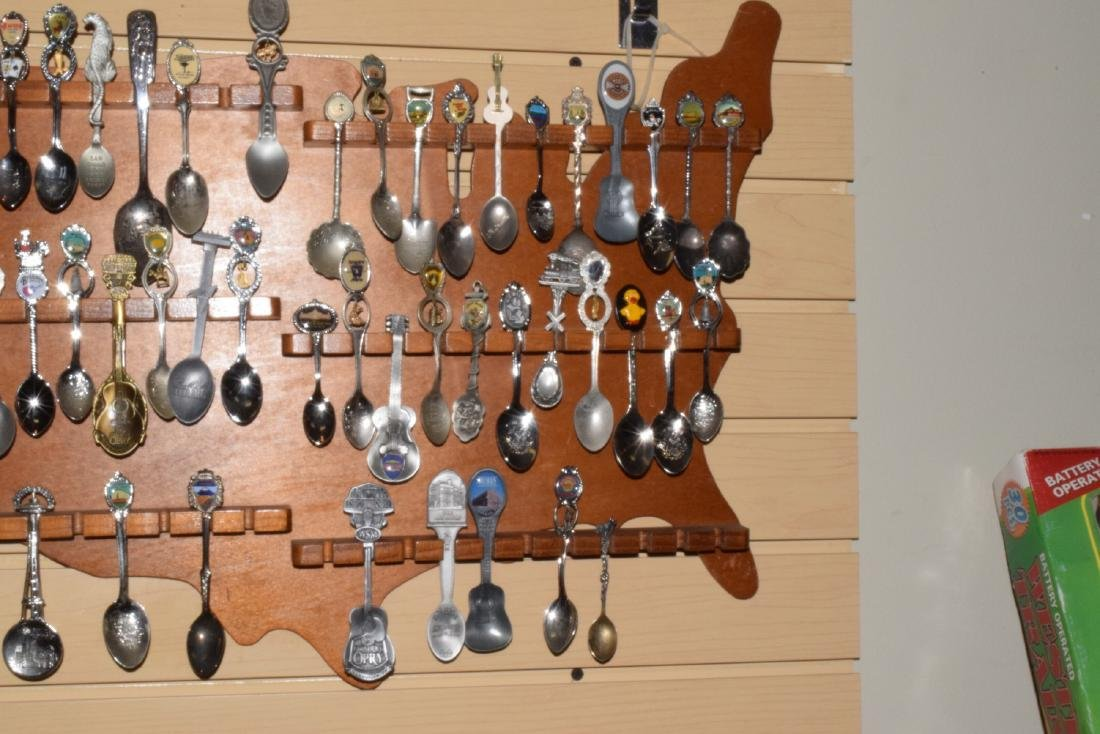 51 VARIOUS COLLECTOR SPOONS IN RACK - 5