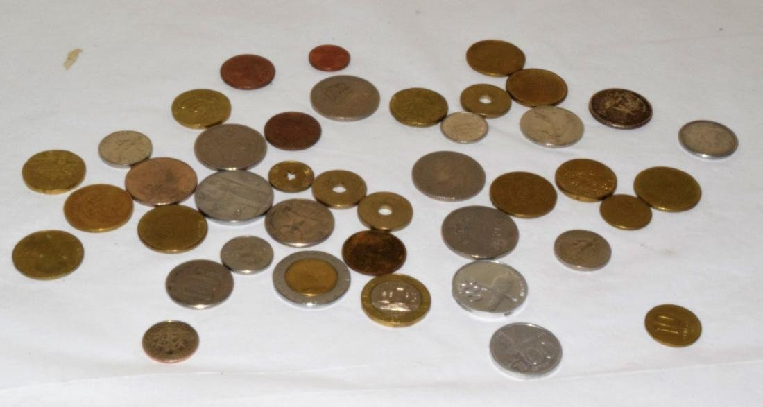 LOT OF VARIOUS FOREIGN COINS & TOKENS