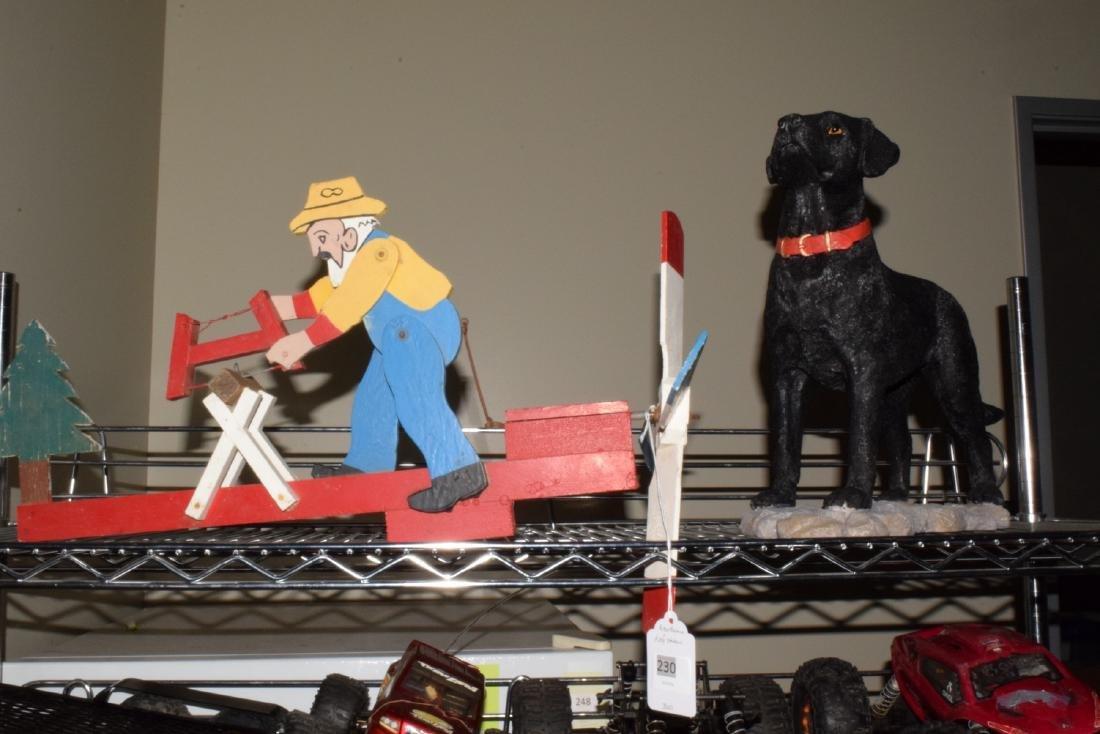 WOOD WEATHER VANE & DOG STATUE