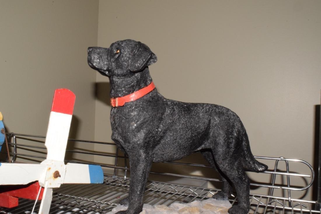 WOOD WEATHER VANE & DOG STATUE - 3