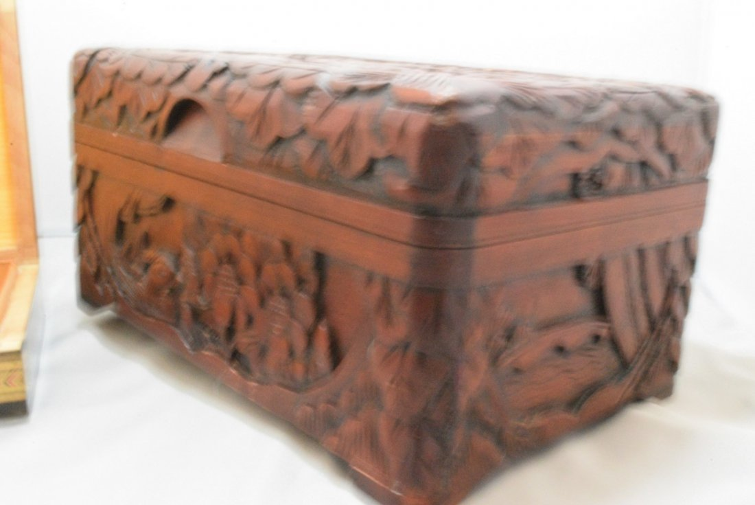 BEAUTIFUL HAND CARVED HINGED BOX AND A INLAID DESI - 5