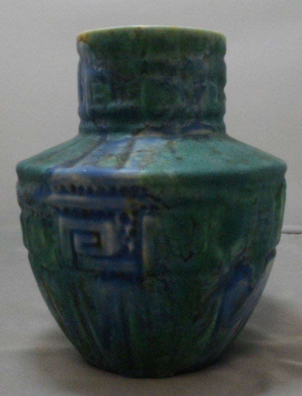 6.5 GREEN POTTERY VASE - MARKED CROWN DUCAL