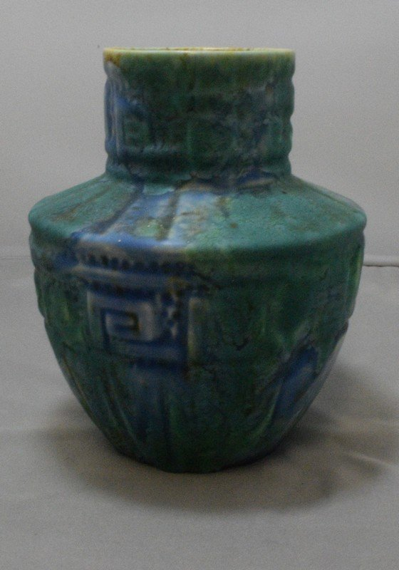 6.5 GREEN POTTERY VASE - MARKED CROWN DUCAL - 2