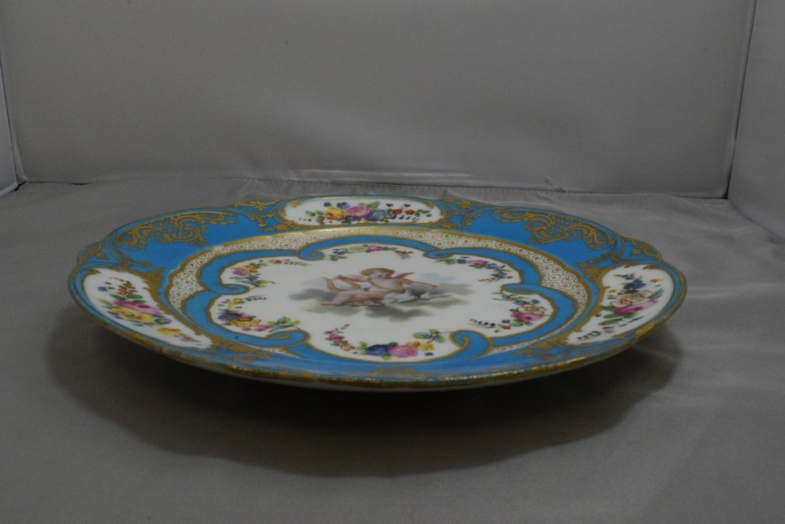 ANTIQUE HAND PAINTED EUROPEAN PORCELAIN PLATE - 3