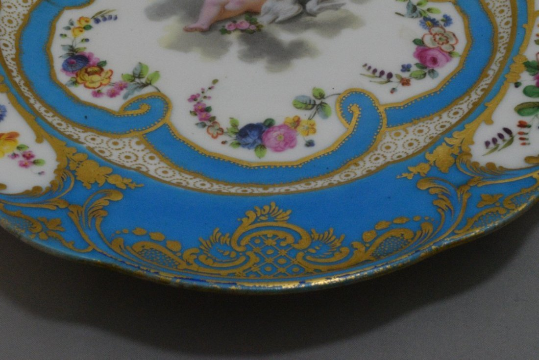 ANTIQUE HAND PAINTED EUROPEAN PORCELAIN PLATE - 4