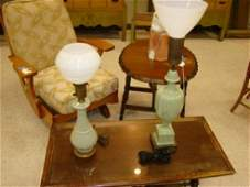 TWO GREEN PORCELAIN TABLE LAMPS WITH WHITE MILK GL