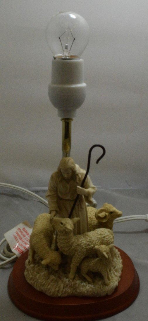 """APPROX. 13"""" BEDROOM LAMP - RESIN SHEPARD WITH SHEEP"""