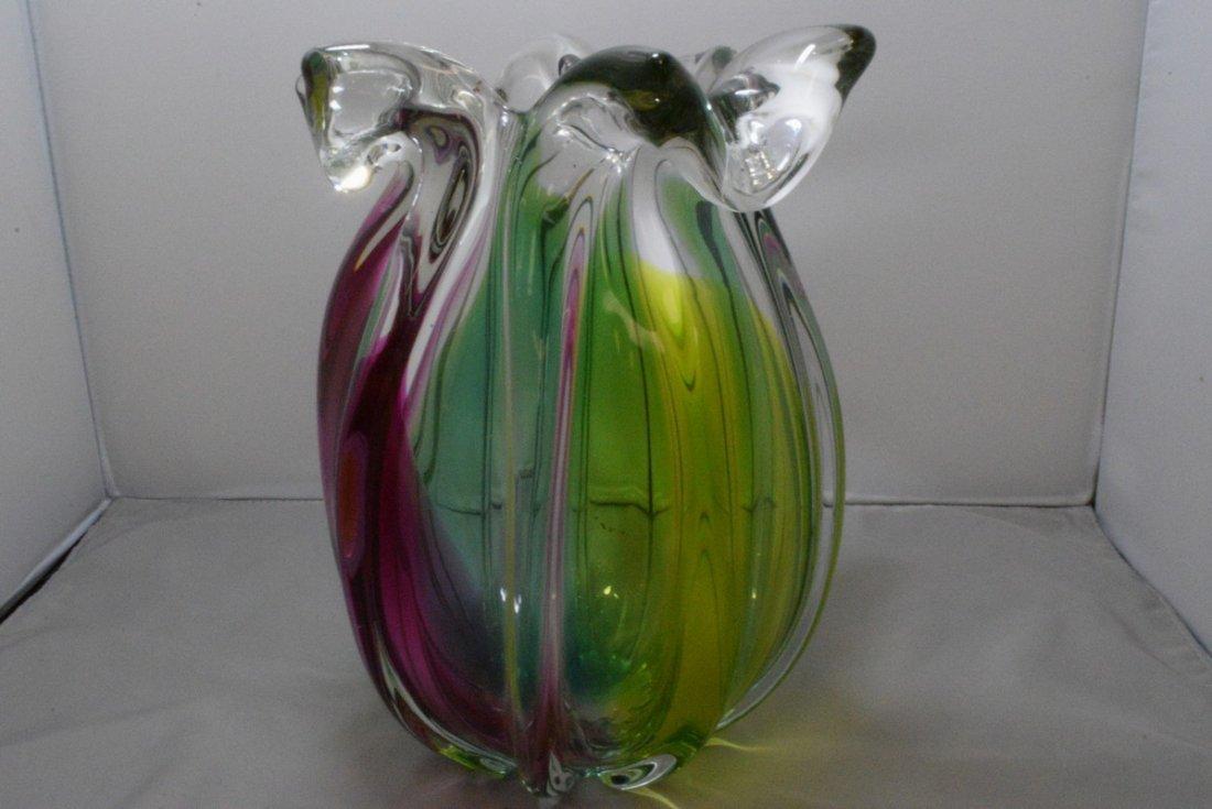 "9.5"" HEAVY ART GLASS VASE - 4"