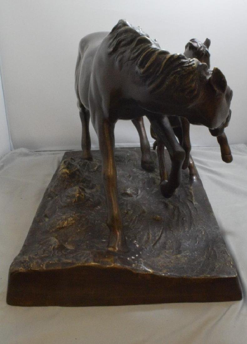 BRONZE FIGURE OF A MOTHER AND BABY HORSE - SIGNED - 4