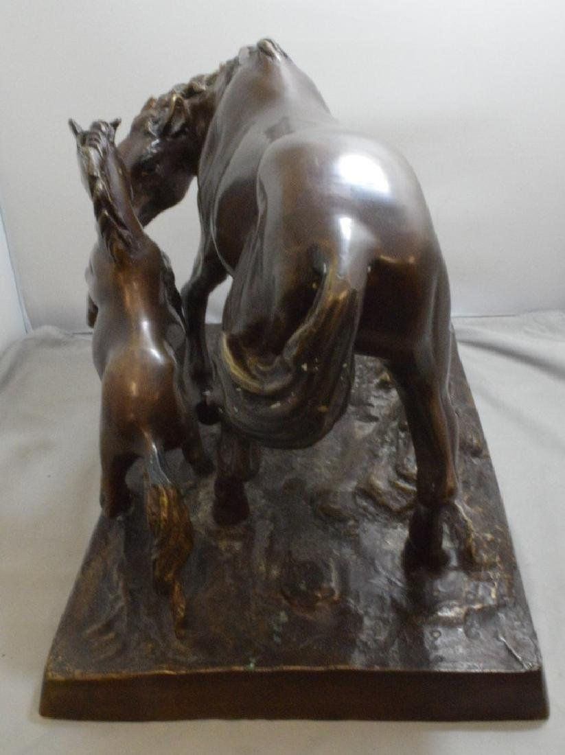 BRONZE FIGURE OF A MOTHER AND BABY HORSE - SIGNED - 6