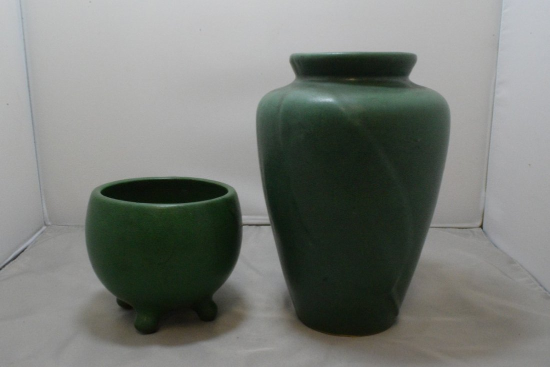 2 VINTAGE GREEN MATTE GLAZE ART POTTERY VASE