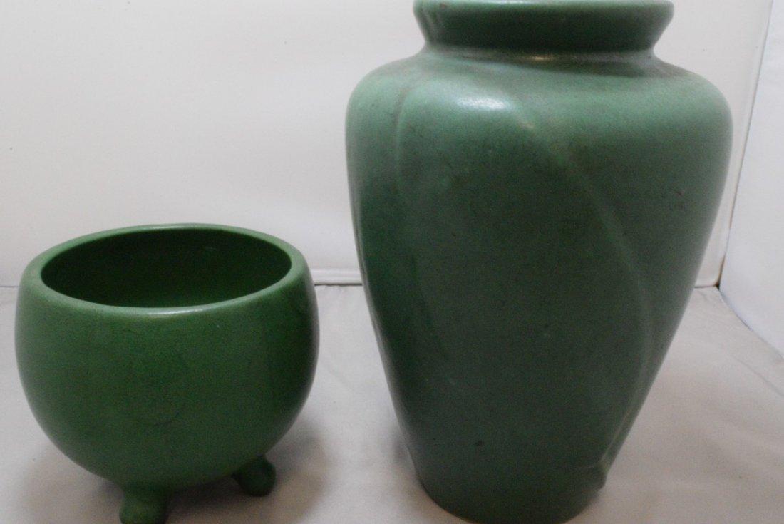 2 VINTAGE GREEN MATTE GLAZE ART POTTERY VASE - 2