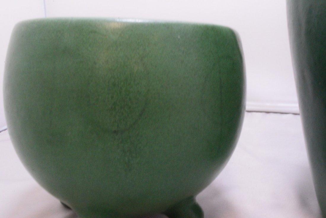 2 VINTAGE GREEN MATTE GLAZE ART POTTERY VASE - 4