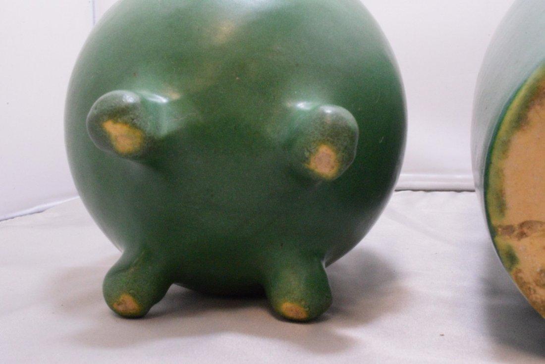 2 VINTAGE GREEN MATTE GLAZE ART POTTERY VASE - 5