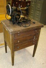 ANTIQUE WHITE ROTARY SEWING MACHINE AND SEWING TABLE