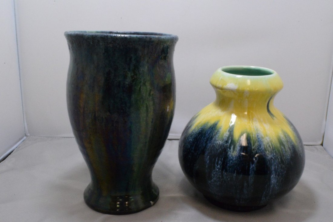 7 BOCH ART POTTERY VASE AND A 8 GREEN GLAZE BELGIUM