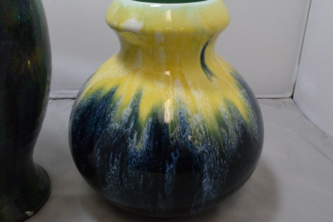 7 BOCH ART POTTERY VASE AND A 8 GREEN GLAZE BELGIUM - 4
