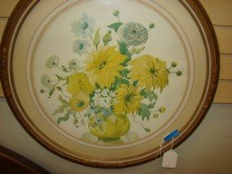 VINTAGE ROUND GLASS AND FRAMED PRINT OF YELLOW FLOWERS - 2