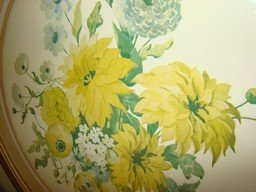 VINTAGE ROUND GLASS AND FRAMED PRINT OF YELLOW FLOWERS - 3