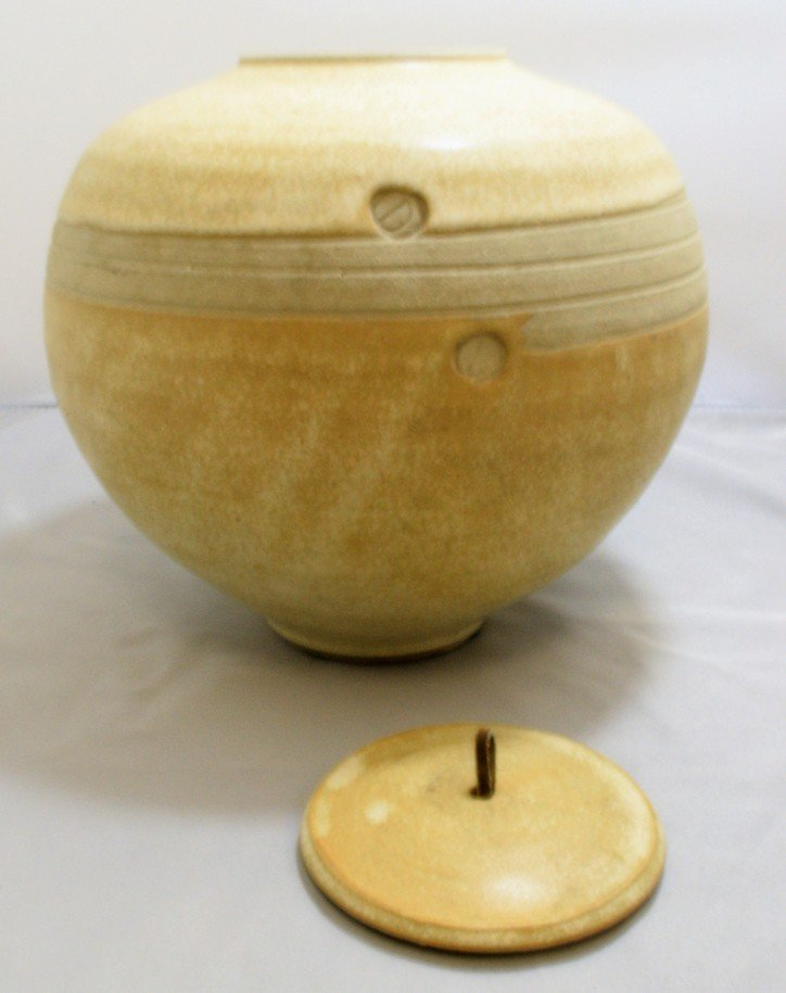 SIGNED POTTERY JAR WITH LID - 2