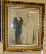 FRAMED ORIGINAL DRAWING OF BRIDE AND GROOM WEDDING