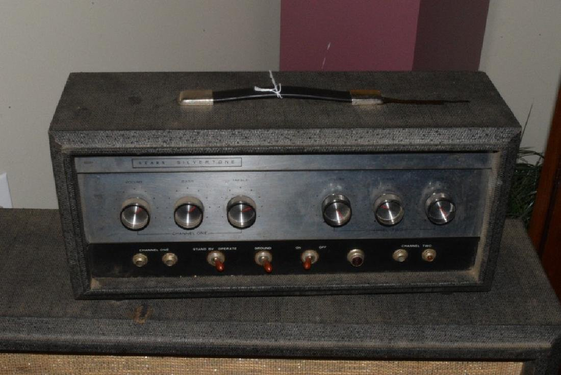 VINTAGE SEARS SILVER TONE AMP - 2