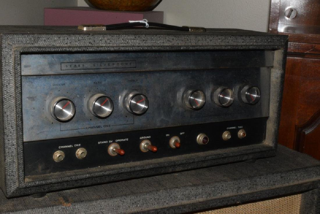 VINTAGE SEARS SILVER TONE AMP - 3