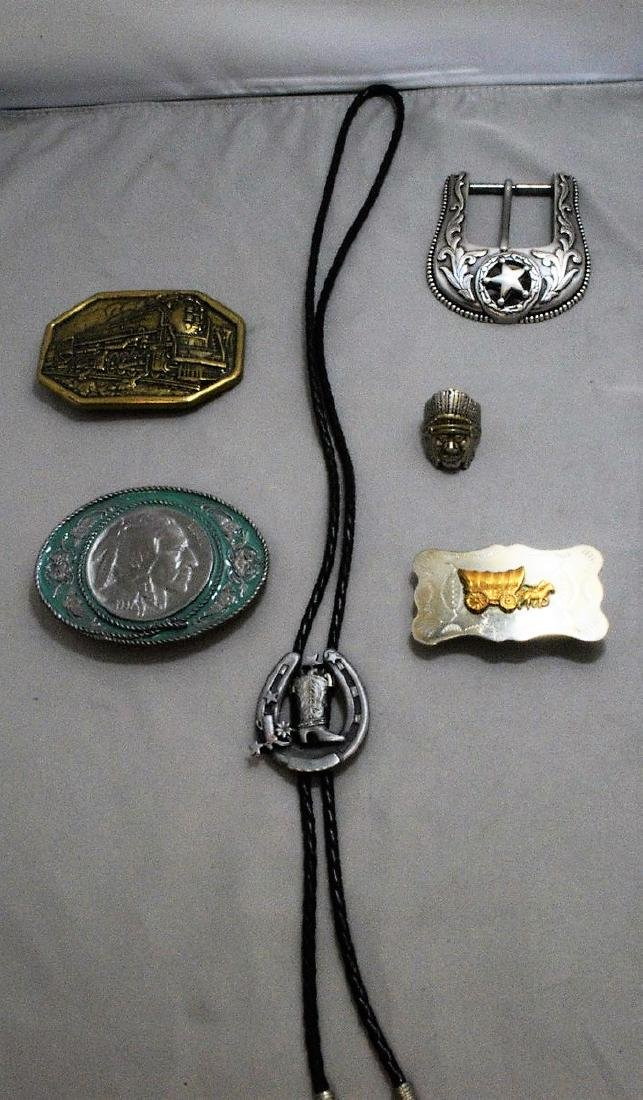 4 WESTERN BELT BUCKLES - BOLO TIE AND NATIVE AMERICAN