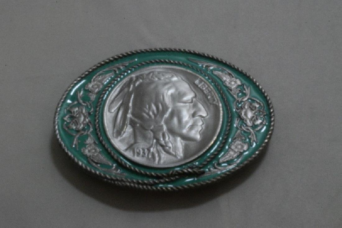 4 WESTERN BELT BUCKLES - BOLO TIE AND NATIVE AMERICAN - 5