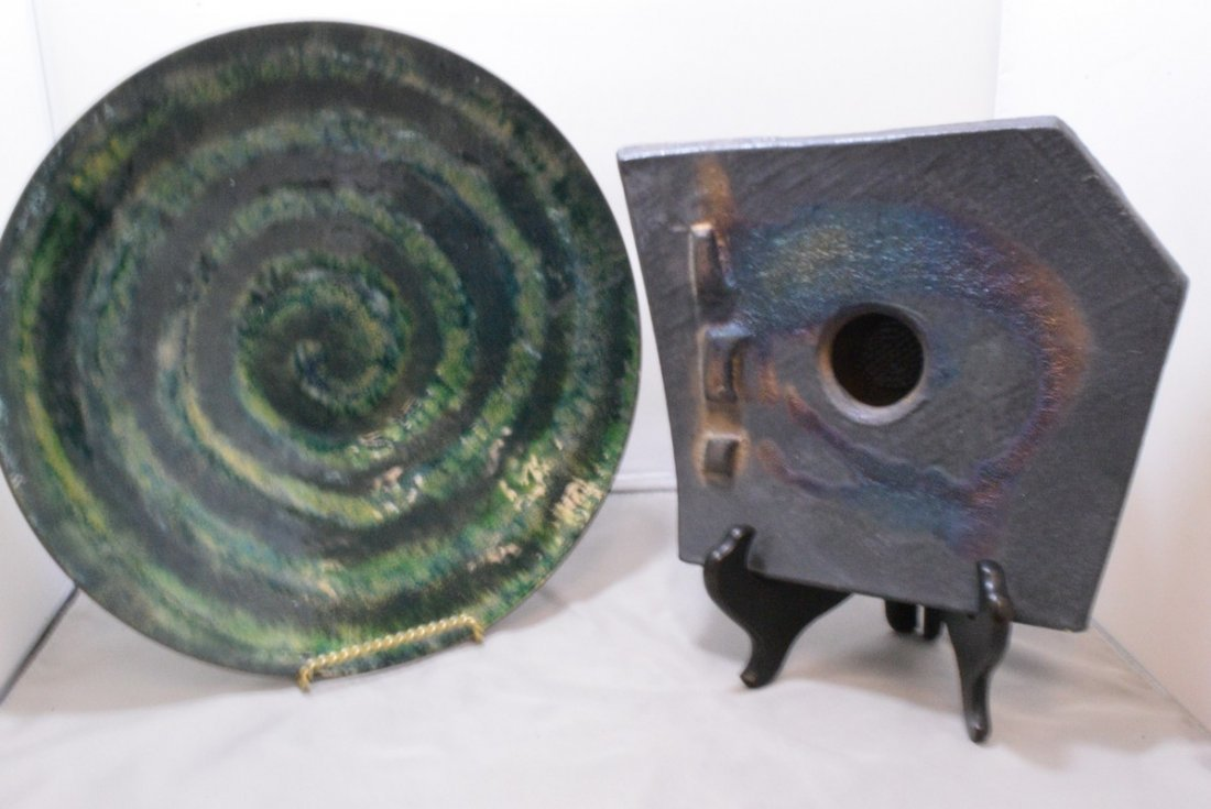 SIGNED ENAMEL ON COPPER BOWL - PURCELL AND A RAKU