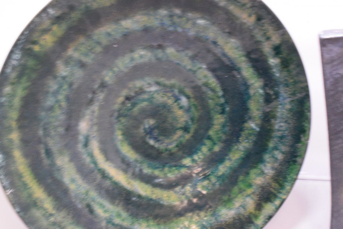 SIGNED ENAMEL ON COPPER BOWL - PURCELL AND A RAKU - 2