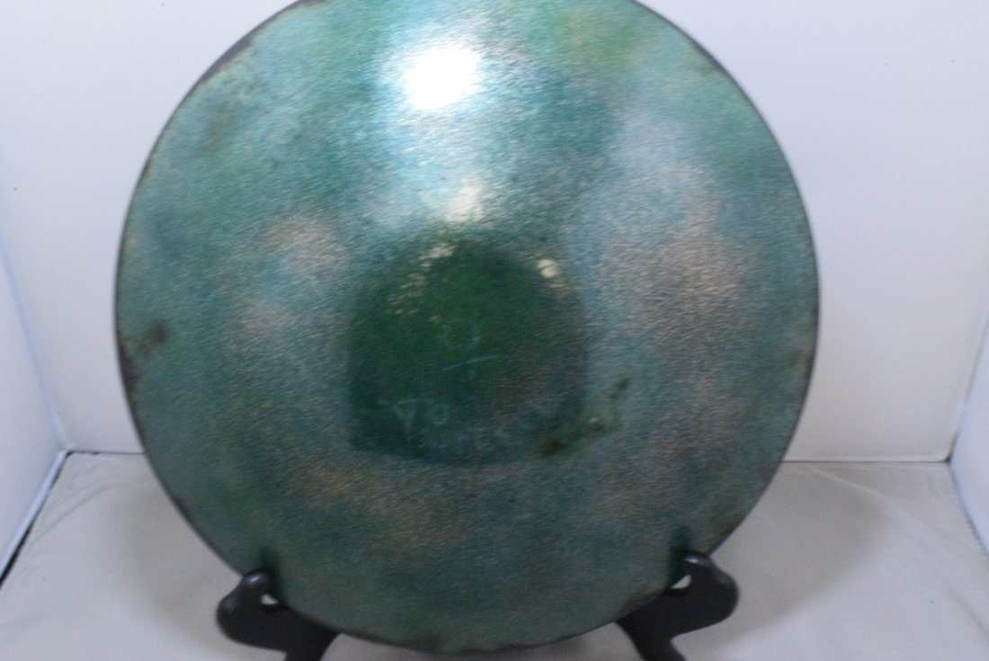 SIGNED ENAMEL ON COPPER BOWL - PURCELL AND A RAKU - 9