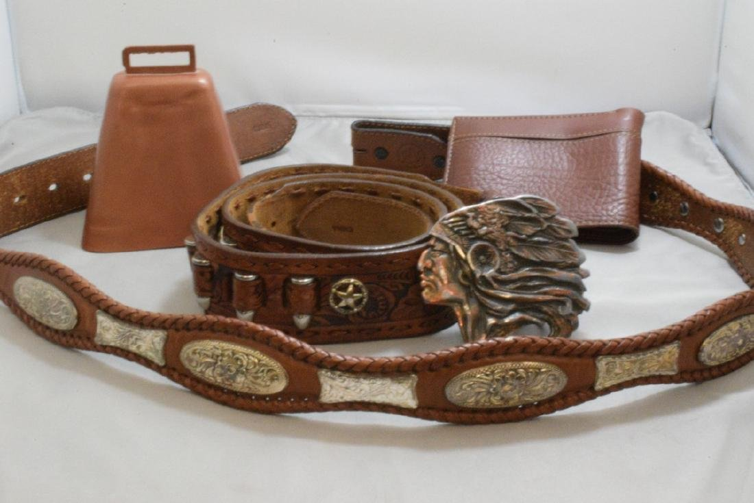 BOX -- HAND TOOLED LEATHER BELT WITH NATIVE AMERICAN