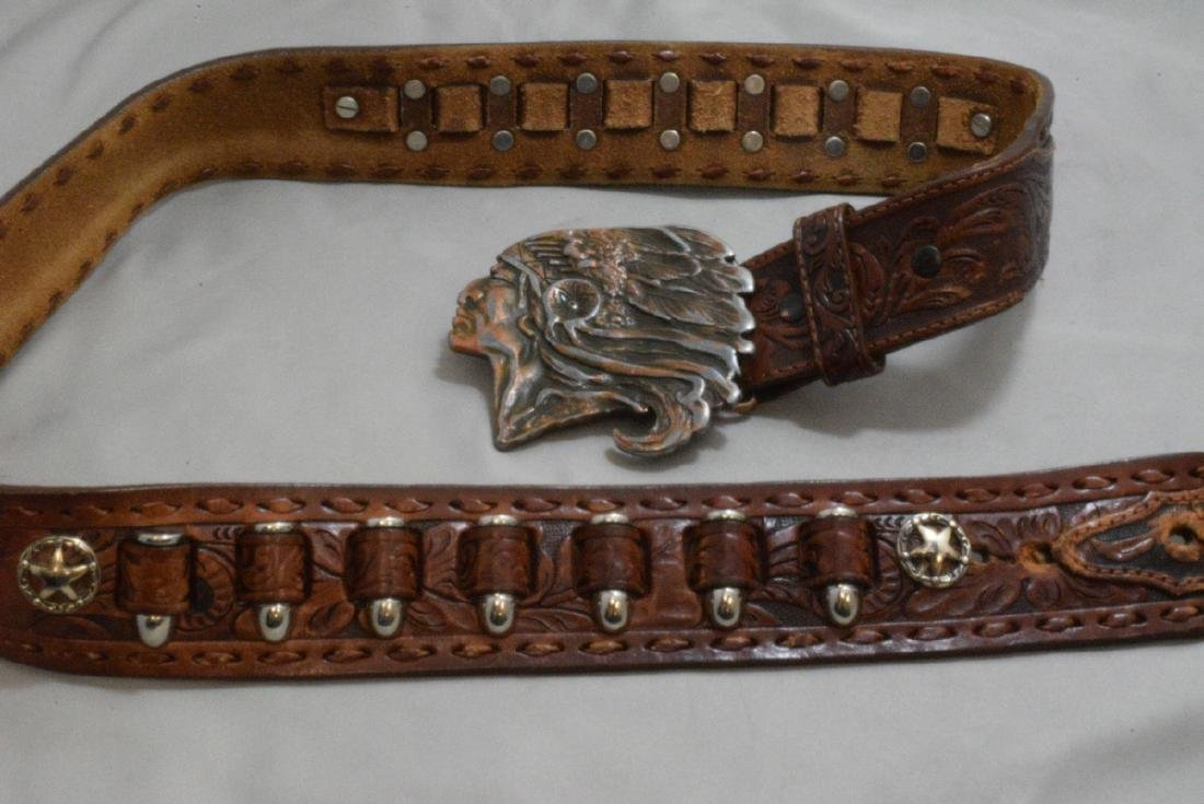BOX -- HAND TOOLED LEATHER BELT WITH NATIVE AMERICAN - 2