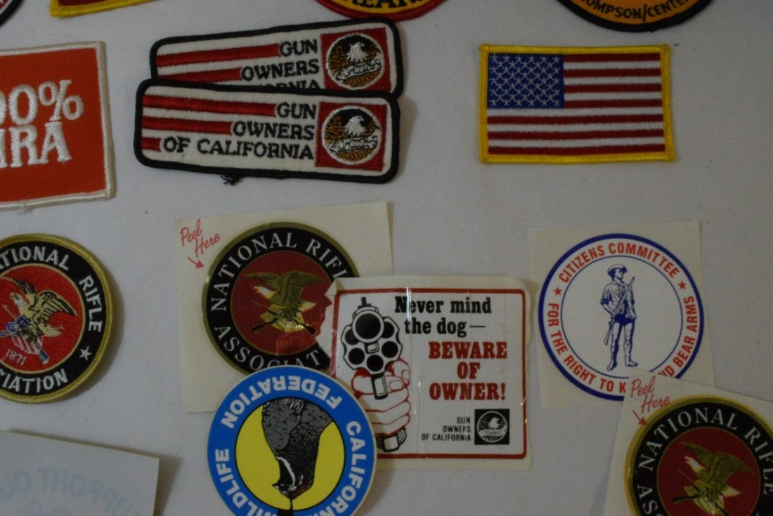 TRAY OF VARIOUS MILITARY AND NRA PATCHES AND STICK - 5