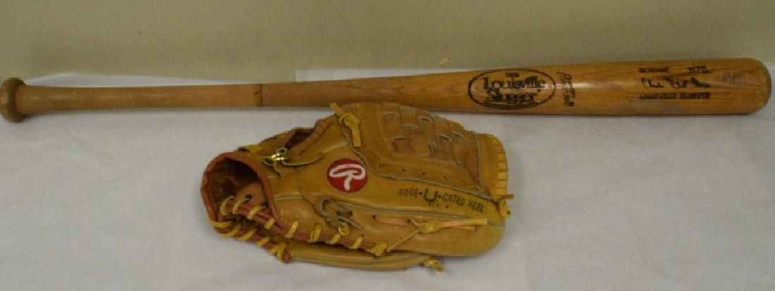 RAWLINGS DALE MURPHY LEFT HANDED LEATHER MITT AND BAT