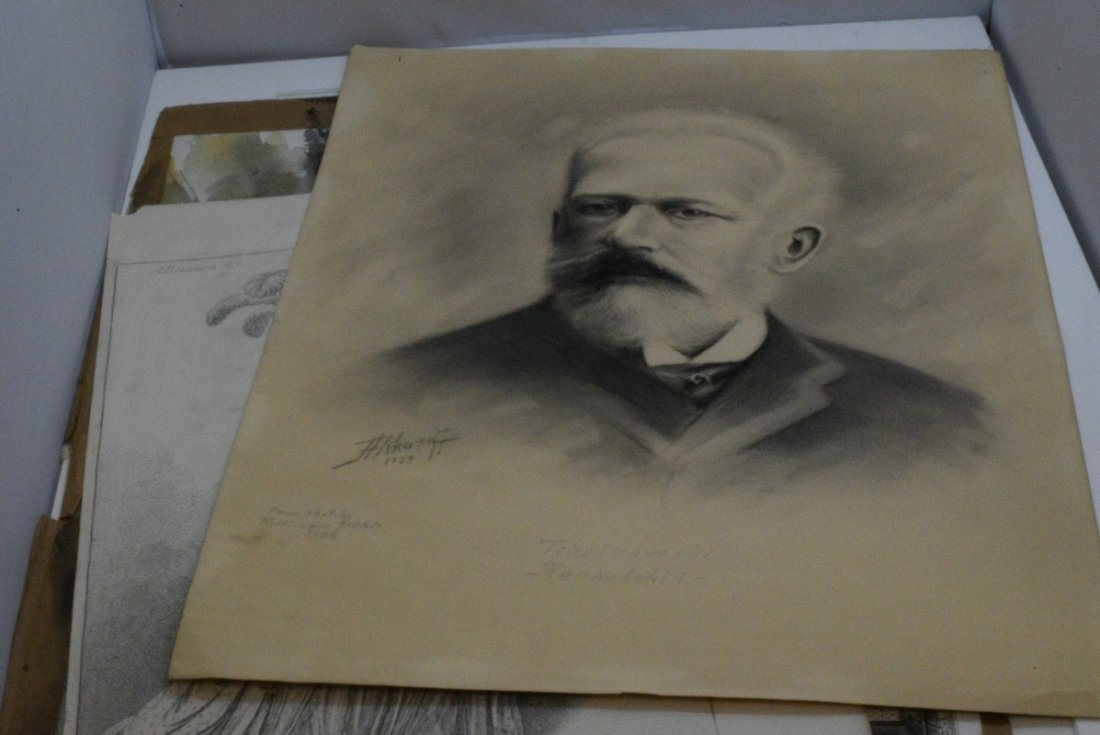 6 VARIOUS PIECES OF OLD ARTWORK - PRINTS AND WATER