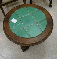 ROUND WOODEN AND GREEN TILE END TABLE